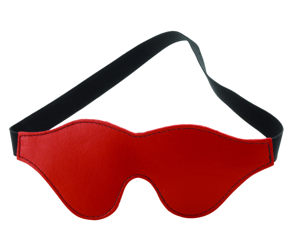 Redline Blindfold - Classic Cut - Red Leather, Black Fur