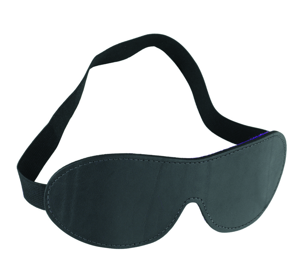 Purple Fur Line Blindfold - Contour Cut - Black Leather, Purple Fur