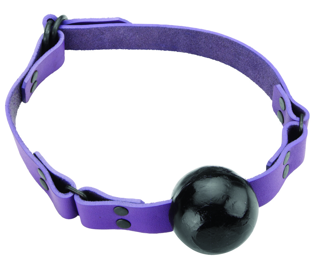Crave Gag - Small Ball - D Ring - Violet Strap, Black Ball