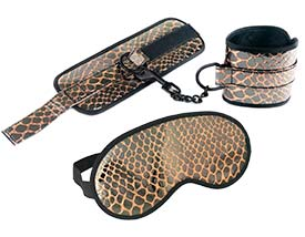 FAUX LEATHER WRIST RESTRAINTS AND BLINDFOLD