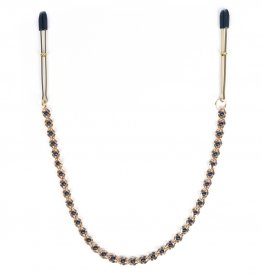 GOLD TWEEZER NIPPLE CLAMPS WITH GOLD BEADED CHAIN