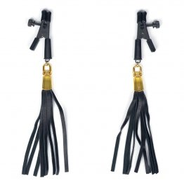 ALLIGATOR TIP CLAMP WITH LEATHERETTE TASSELS