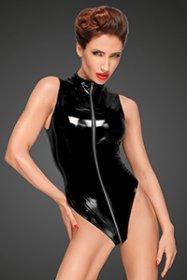 PVC BODY SUIT WITH DEEP CUT SHOULDER LINE
